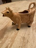 Vintage Ceramic Brown Cow Creamer With Bell
