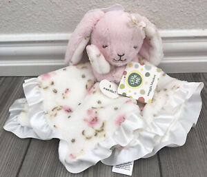 Little Me Pink Bunny Floral Plush Security Blanket White Satin Lovey Rattle NEW