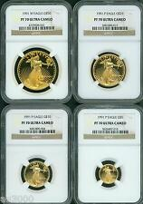 1991 4-COINS SET W & P $50 $25 $10 $5 GOLD EAGLE NGC PR70 PROOF PF70 SCARCE
