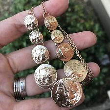 """Boho Gypsy Alexander The Great Faux Antique Coin Chocker Necklace 14"""" Adjustable"""