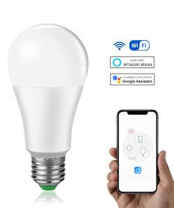 15W Smart WiFi Light Bulb E27 B22 Dimmable LED Lamp For Alexa Google Home APP