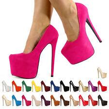 Nuevas señoras para mujer Oculta Plataforma Stilettos Taco Alto Tribunal Zapatos Talla 3-8