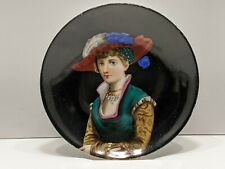 ANTIQUE PORTRAIT PLATE WOMAN IN COLORFUL DRESS AND HAT
