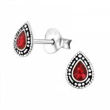 925 Sterling Silver Red Glitter Teardrop Stud Earrings Girls Kids Ladies Boxed