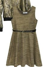 BONNIE JEAN Big Girls Gold Metallic Sleeveless A-Line Dress with Belt NWT 12