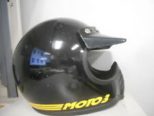 Vintage BELL Moto 3 Black Yellow MX Motocross Motorcycle 7 5/8 Helmet AHRMA