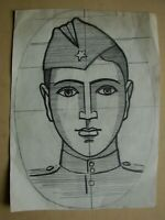 Russian Ukrainian Soviet pencil drawings portrait soldier WW2 poster sketch