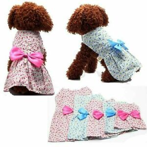 Pet Dog Floral Dress Skirt Bowknot Soft Outfit Bow Puppy Clothes Apparel Costume
