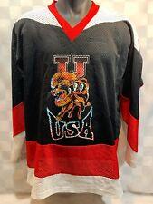 Vintage Umen Sport U Usa Lion Logo Mesh Hockey Jersey Size S Black Red White