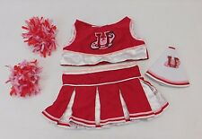 Build A Bear Dino Red Cheerleading Uniform 5 Pc Set Top Skirt Megaphone Pom Poms