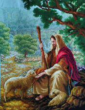 Hand Made New Finished Completed Cross Stitch - Sheepherder - P8