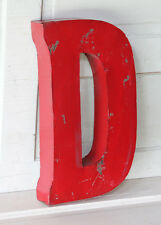 "20"" Industrial Rustic Block Letter D Sign, Red, Recycled Metal Letter"