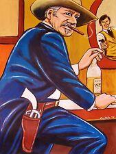 JOHN WAYNE CIGAR PRINT the shootist western movie cowboy hat colt pistol liquor