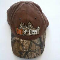 Gut Deer Baseball Cap Hat Adjustable Embroidered Camo & Brown 100% Cotton EUC