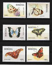 Butterflies set of 6 stamps mnh 2011 Romania #5248-53