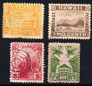 1893-4 Hawaii #74-77 used lot H