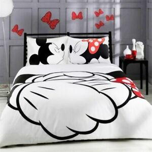 4pc. DISNEY'S MICKEY & MINNIE WHITE TWIN FULL QUEEN COMFORTER SET