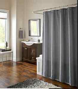 Grey Waves Fabric  Shower Curtain