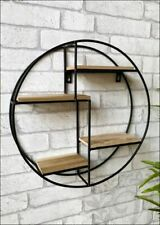 ROUND WALL SHELF UNIT WOOD AND METAL SHELVING UNIT OFFICE HOME STORAGE