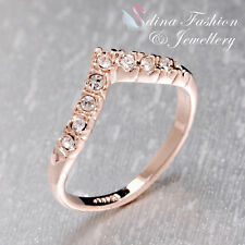 18K Rose Gold Plated Simulated Diamond Exquisite Slim Letter V  Ring
