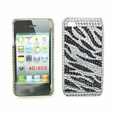 Funda PARA APPLE IPHONE 4 4S Estrás Diamante Negro Blanco cebra duro contraportada