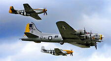 "B-17 BOMBER P-51 MUSTANG MILITARY AIR FORCE 24"" x 43"" LARGE WALL POSTER PRINT"