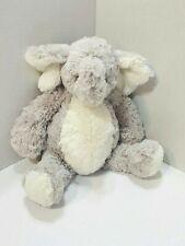 "Pier 1 One Imports Gray Cream Plush Elephant Lovey Stuffed Animal Toy 14"" Grey"