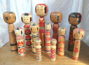 SPECIAL- LOT Kokeshi Japanese Dolls Vintage Wooden Dolls Traditonal Style #87