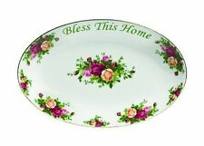 """Royal Albert Old Country Roses """"Bless This Home"""" Platter  12-Inch NEW"""