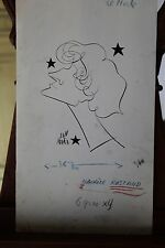 Dessin original (caricature) à l'encre de Mara Jean - Maurice Rostand