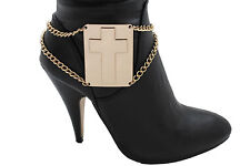 Women Western Boot Bracelet Gold Metal Chain Links Cross Plate Anklet Shoe Charm