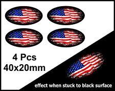 4Pcs ovale FADE TO BLACK AMERICAN STARS & STRIPES DRAPEAU US Vinyle Autocollant Voiture 40 mm