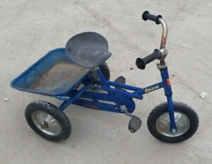 Ancien vélo a Benne Euréka explorer bleu 3 roues vélo enfant vintage