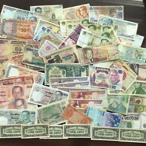 WORLD BANKNOTES COLLECTION LARGE  JOB LOT. 65+ NOTES.