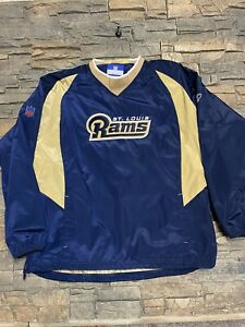 NFL St. Louis Rams Team Apparel Pull Over Wind Breaker Embroidered XL Side Zip