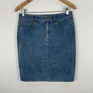 Sportscraft Womens Skirt 8 Blue Denim Straight Pencil Zip Closure