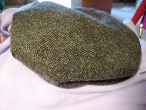 WOOL herringbone gray TWEED golf cabbie Cap Hat (Union Made USA ) (size medium)