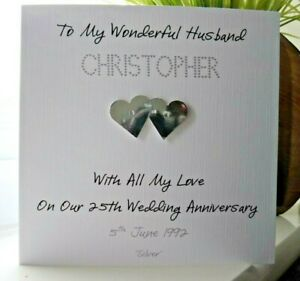 Personalised Silver 25th Wedding Anniversary Card Husband Wife Couple
