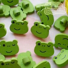 10 X Green Frog Wood Buttons 18mm Sewing Craft Scrapbooking Cardmaking