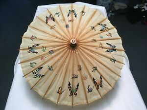 """VINTAGE PARASOL UMBRELLA BUTTERFLY PANEL HAND TINTED RICE PAPER + BAMBOO 26.5""""w"""