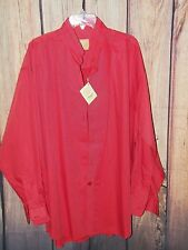 Stubbs Western Wear Long Sleeve Shirt NWT Sunset Red Collar No Buttons Size XL