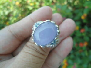 Natural LAVENDER BLUE CHALCEDONY, TOPAZ & CZ 925 STERLING SILVER RING S8.0 BIG