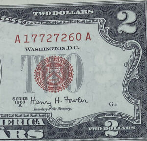 1963 $2 TWO DOLLAR NOTE  LEGAL TENDER RED SEAL CRISP CLEAN UNCIRCULATED