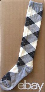 Women's Preppy Argyle Knee High Socks Size 9-11 Cream/Gray/Light Pink Stitching