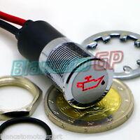 SPIA LED 14mm CON SIMBOLO OLIO metallo lampada 12V low level oil indicator light