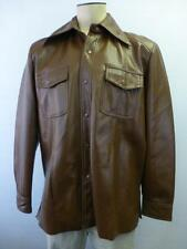 mens VTG Youngbloods brown Polyvinyl Jacket coat western cowboy rockabilly sz XL