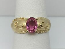 14K YELLOW GOLD GENUINE PINK TOURMALINE LADIES RING SIZE 6.5 ETRUSCAN STYLE