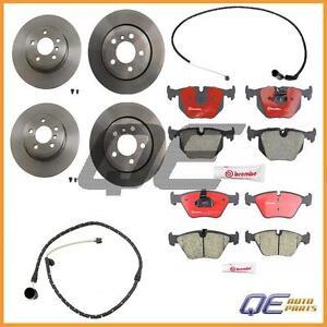For E83 BMW X3 2.5L 3.0L Front Rear Brake Rotors Brembo + Brake Pads + 2 Sensors