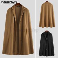 Men Cardigan Hooded Cloak Cape Coat Button Front Casual Jacket Outwear Coat Top