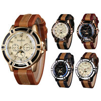 Fashion Men's Leather Stainless Steel Military Sport Casual Quartz Wrist Watch